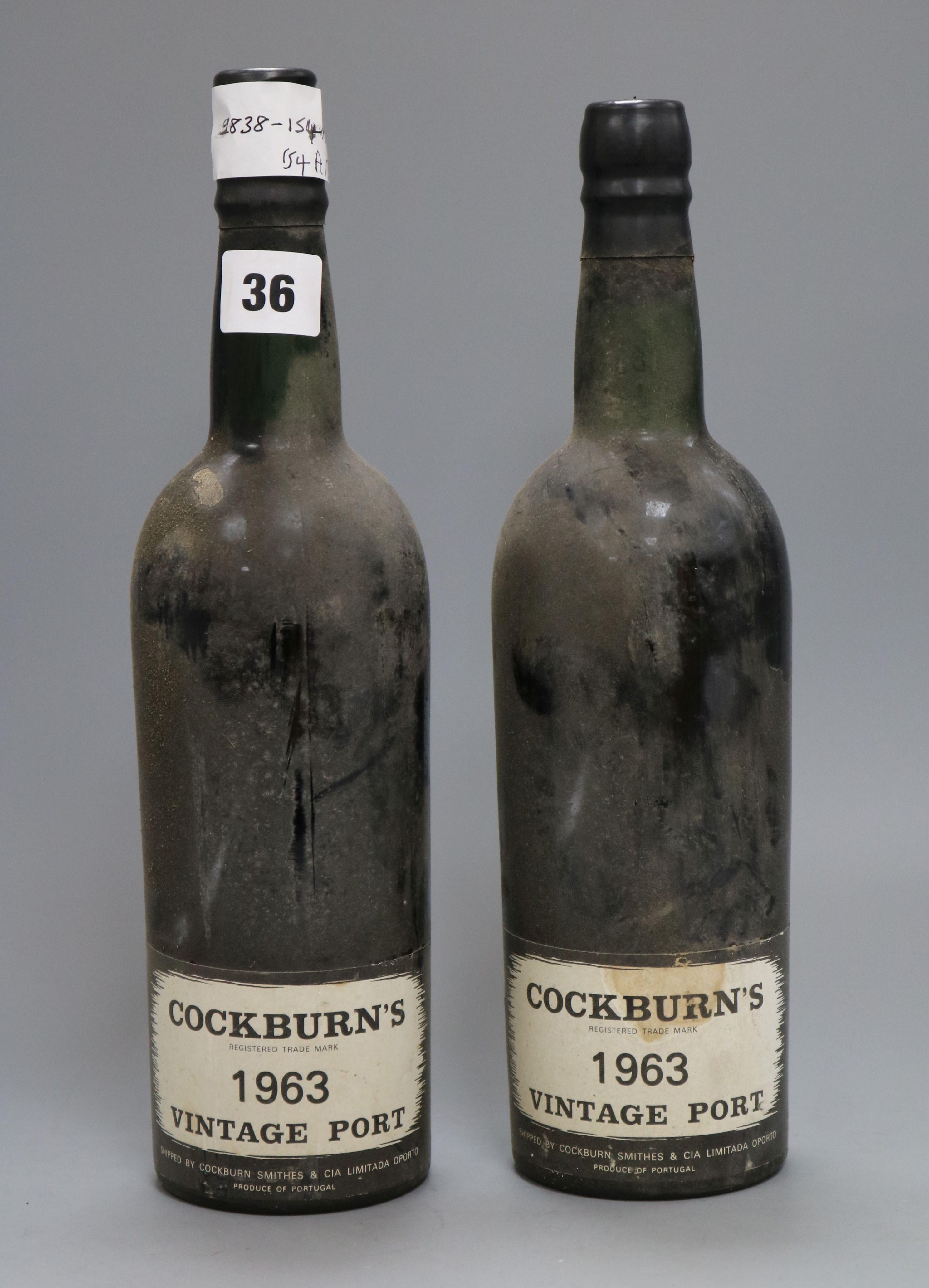 Lot 36 - Two bottles of 1963 Vintage Cockburns port