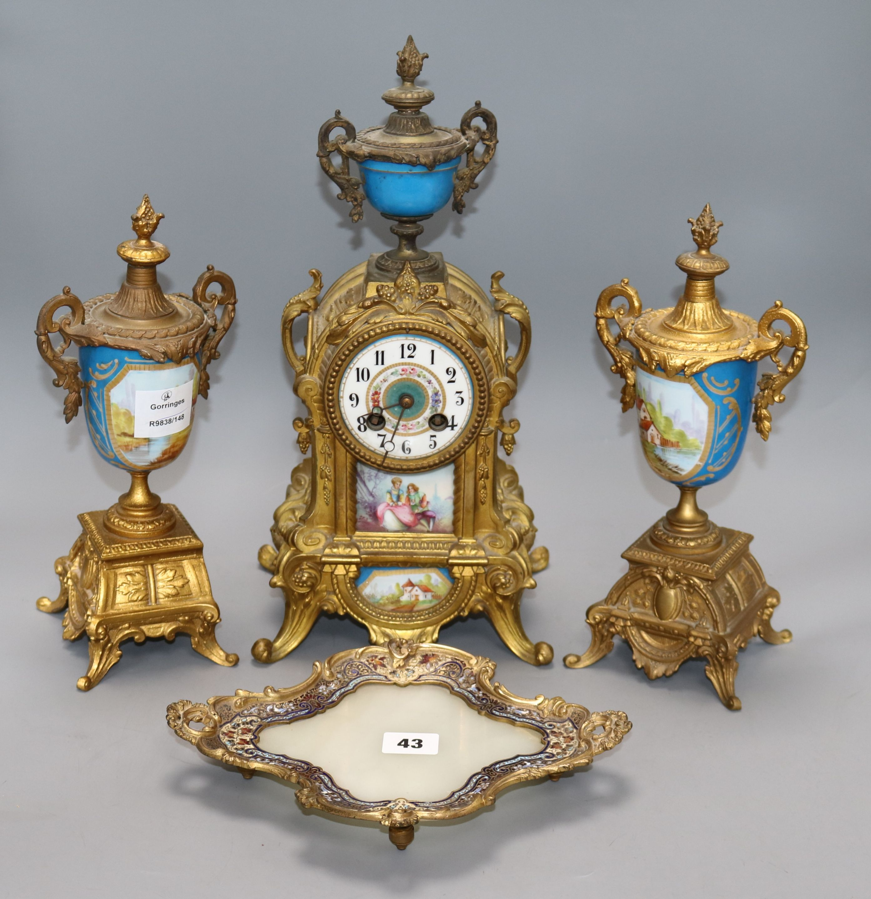 Lot 43 - A French gilt metal clock garniture and a tray height 39cm