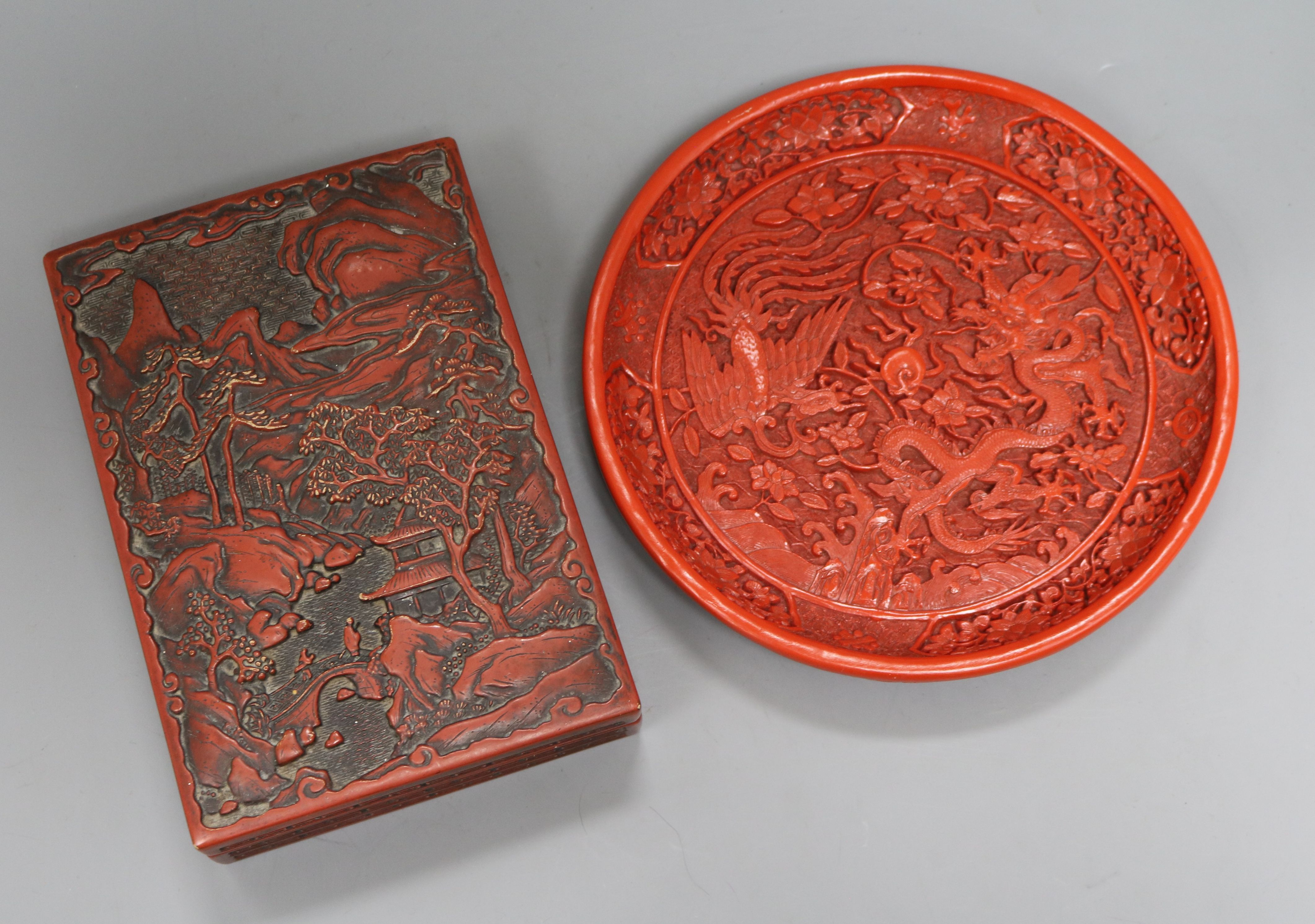 Lot 42 - A Chinese box and cover and a circular dish