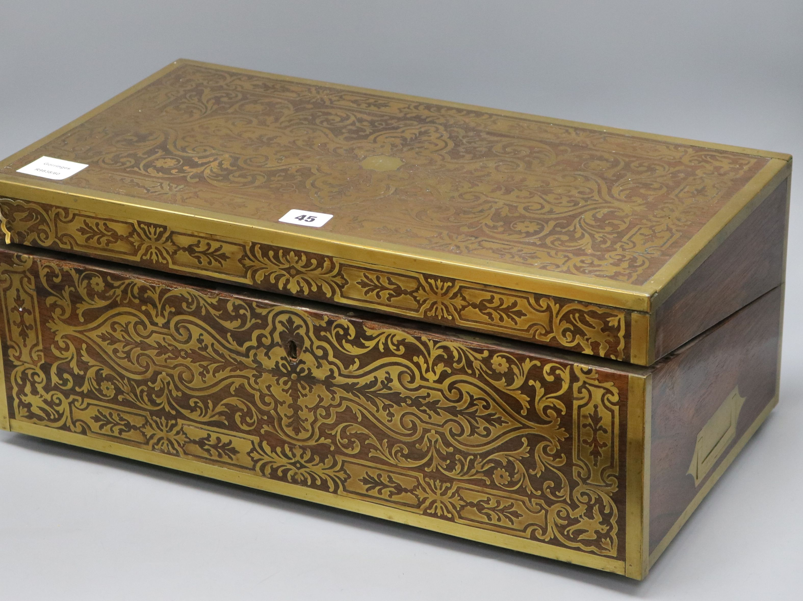 Lot 45 - A boulle work writing slope on stand width 51cm depth 28cm height 22cm