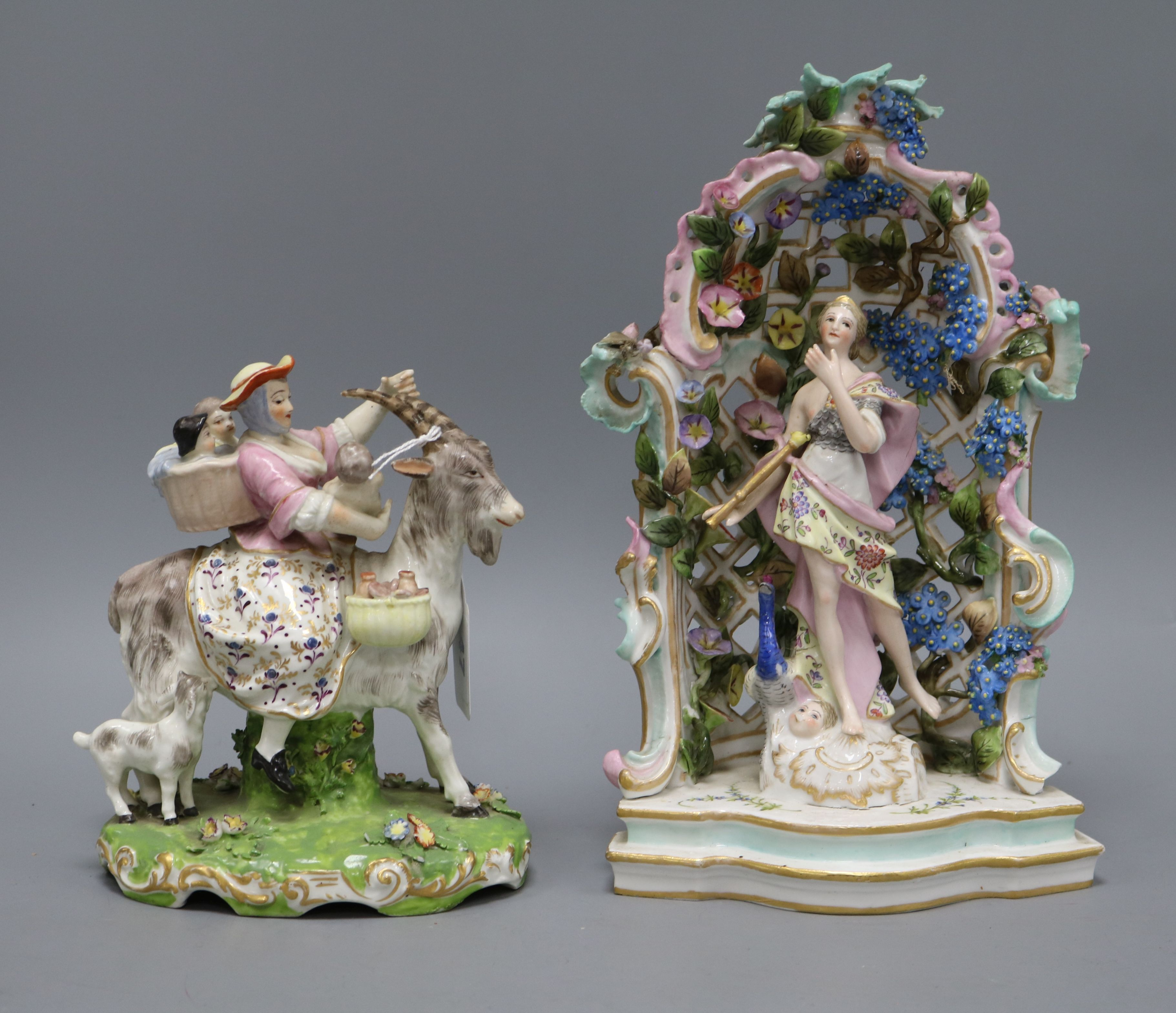 Lot 47 - A Samson group of Tailors wife and a Continental arbour group tallest 28cm