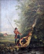 Lot 476 - John Absolon RI, ROI (1815-1895)oil on canvas laid on wooden panelAn Angler, said to be Isaac
