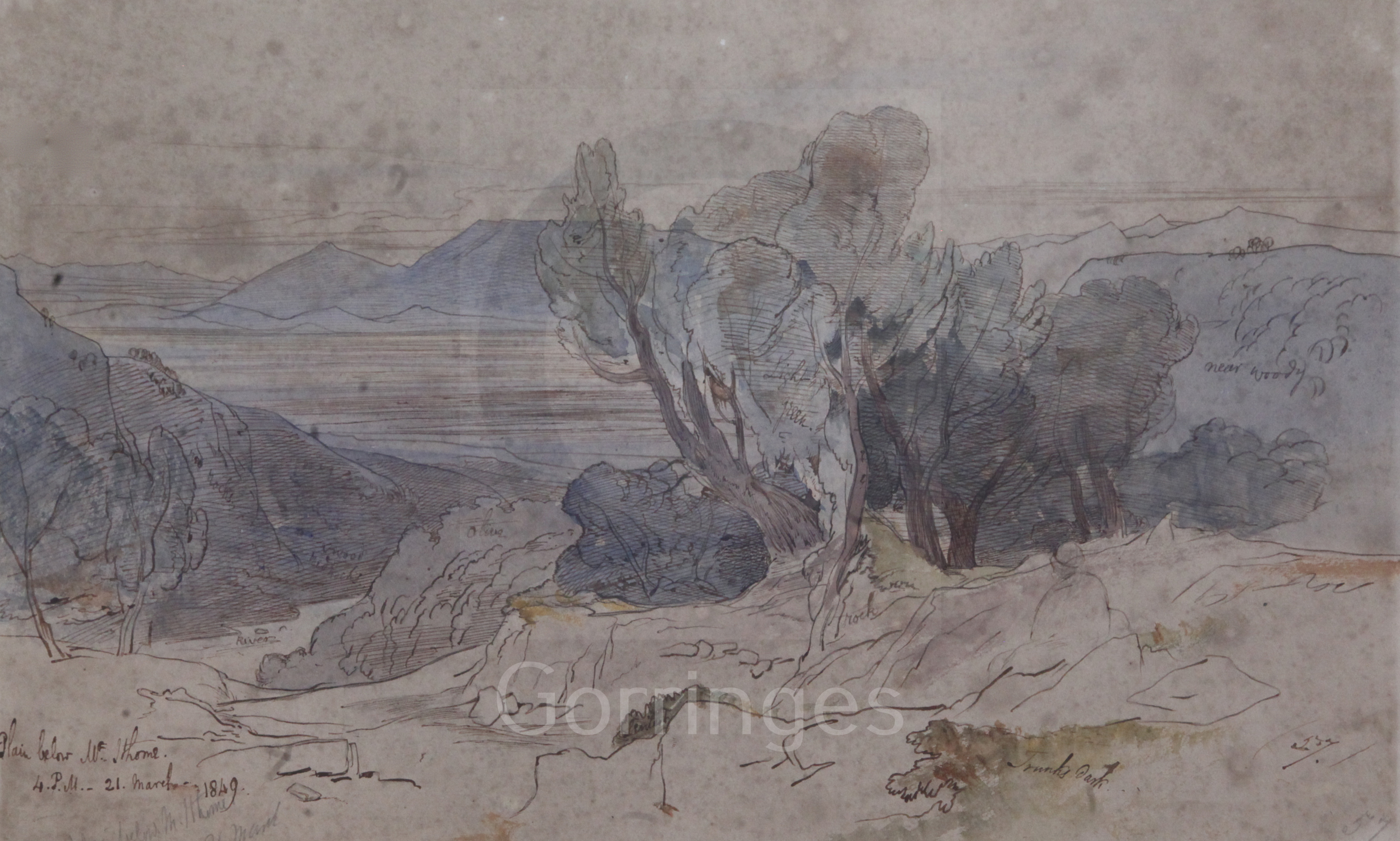 Lot 475 - Edward Lear (1812-1888)ink and watercolour'Plain below Mt Ithome, 4p.m. 21 March 1849'inscribed