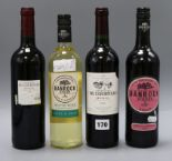 Lot 170 - Four bottles of mixed wine, two Medoc 2015, one Chateau du Courneaux, 2014 gold medal and one