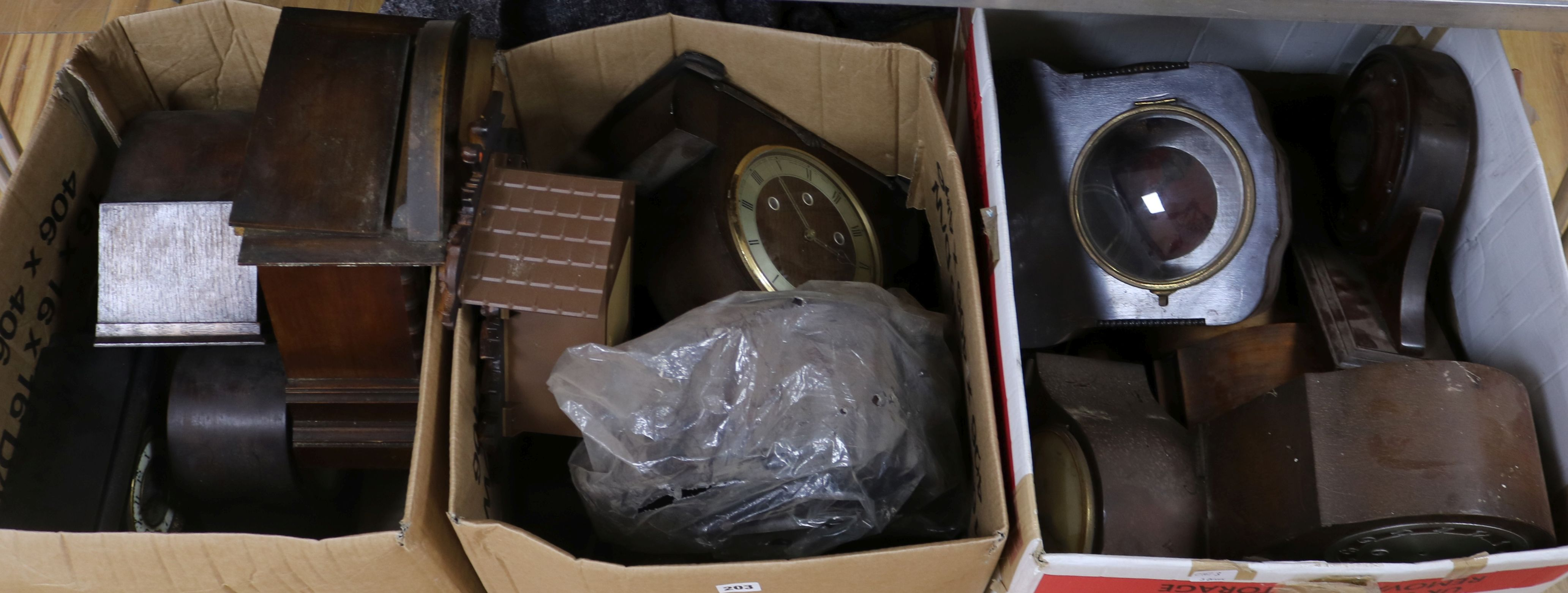 Lot 203 - Three boxes of assorted mantel clocks