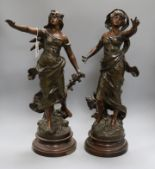 Lot 146 - A pair of 19th century French bronzed spelter figures tallest 52cm