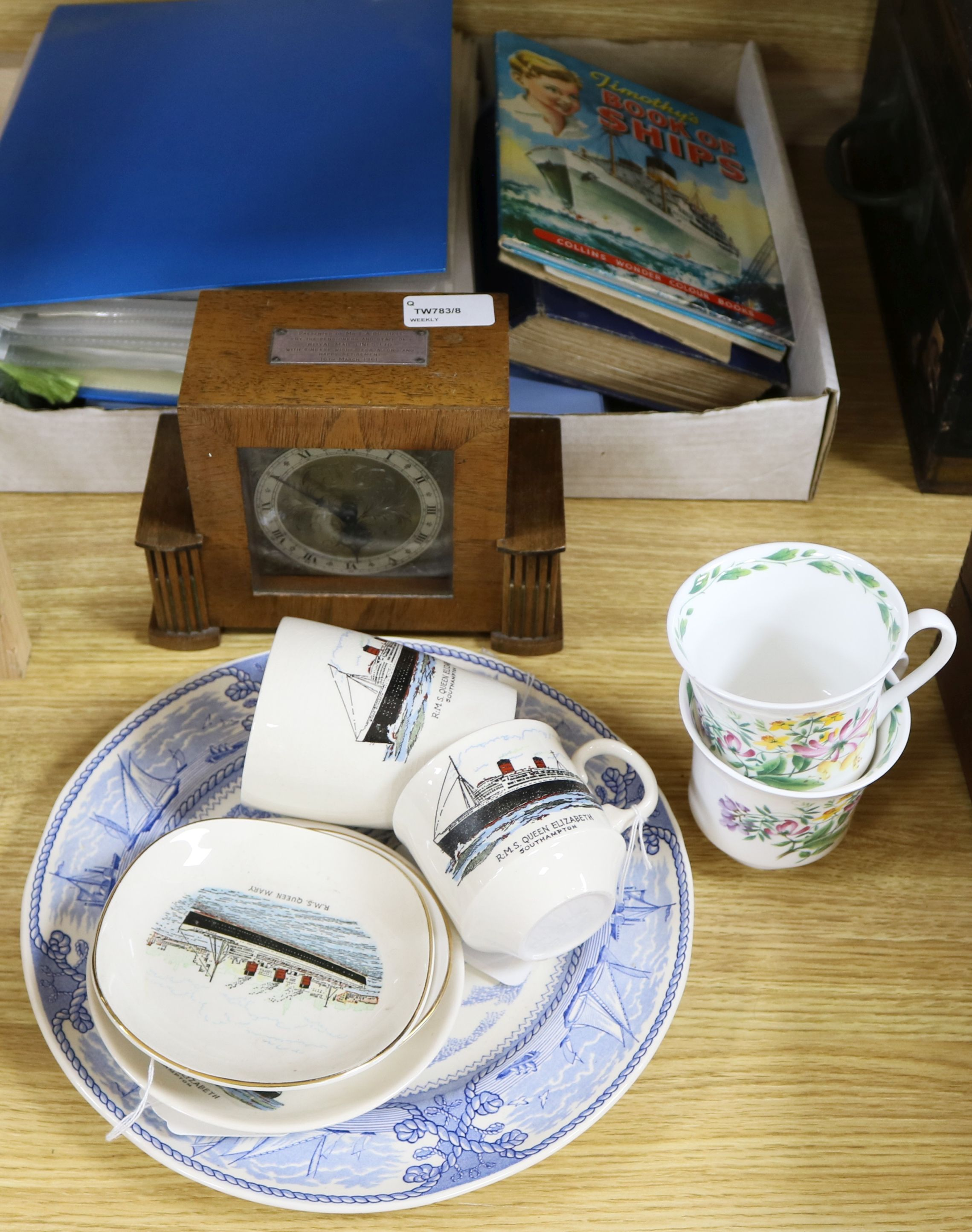 Lot 127 - A large collection of shipping ephemera, including a RMS Queen Mary ironstone plate and two pin