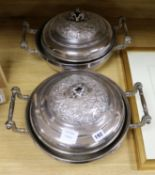 Lot 192 - A pair of plated vegetable tureens and covers