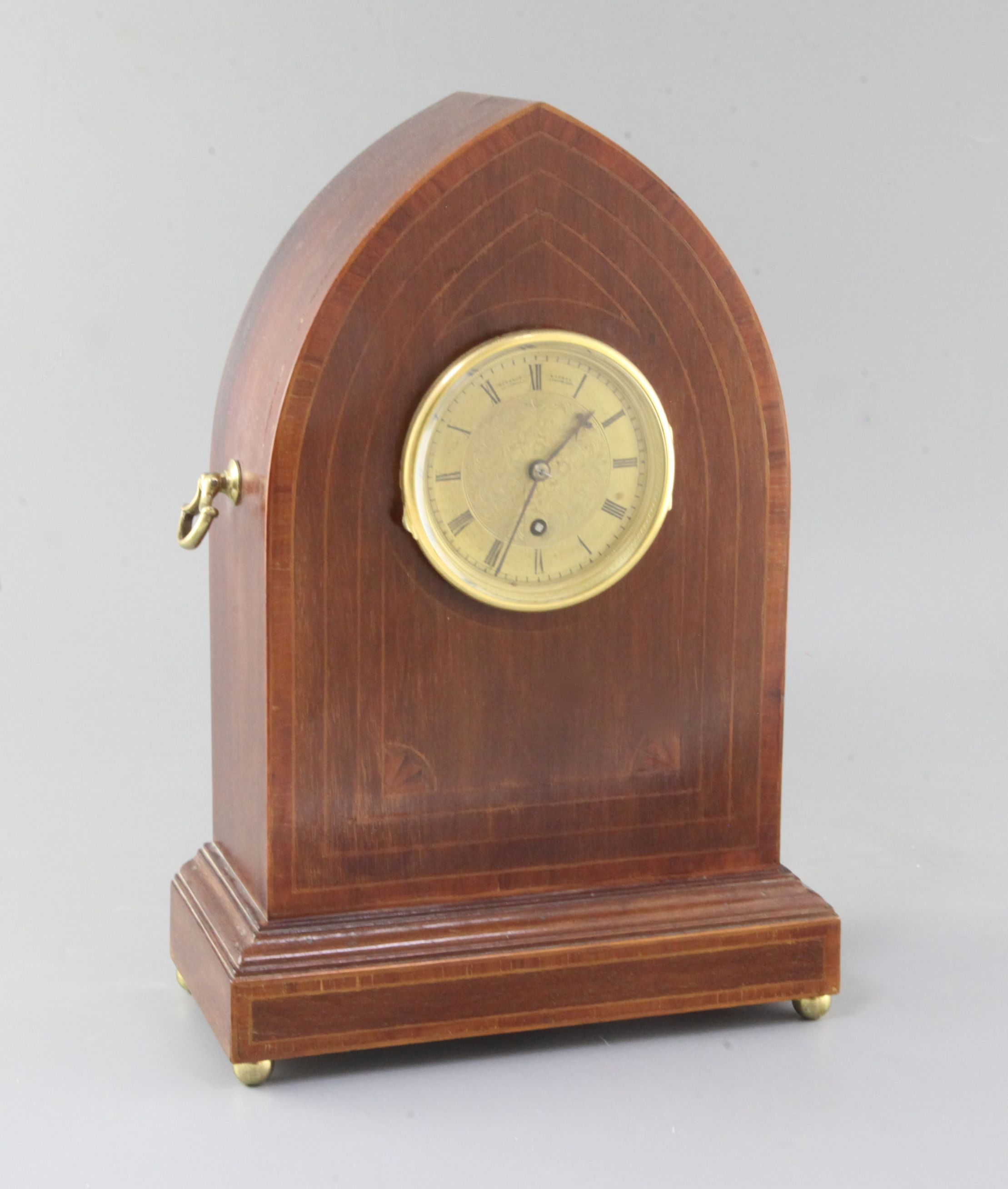 Lot 34 - Barraud & Lunds. A Victorian gilt faced timepiece movement, number 2929, housed in an Edwardian