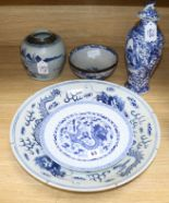 Lot 63 - An 18th century jar and another 19th century Chinese blue and white ceramics largest diameter 40.
