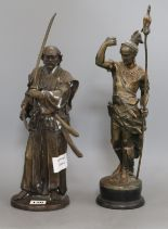 Lot 128 - Two bronzed resin figures of an Indian and Samurai tallest 39cm