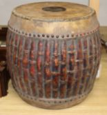 Lot 193 - A carved faux bamboo tribal drum