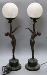 Lot 195 - A pair of Art Deco style bronzed metal table lamps, the bases formed as female nudes with