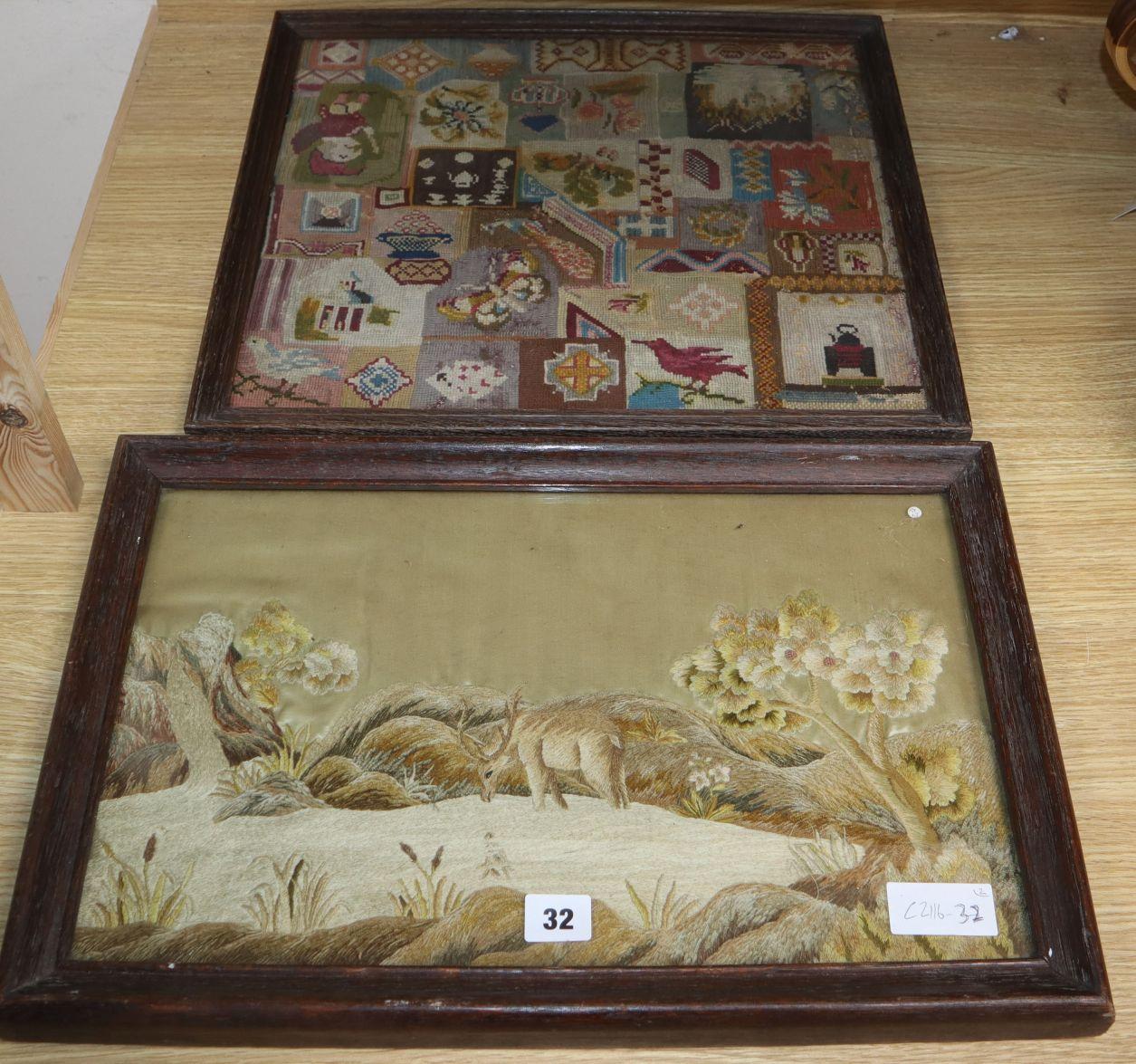 Lot 186 - A Victorian needlework panel depicting a stag in a landscape, a Victorian oval needlework panel,