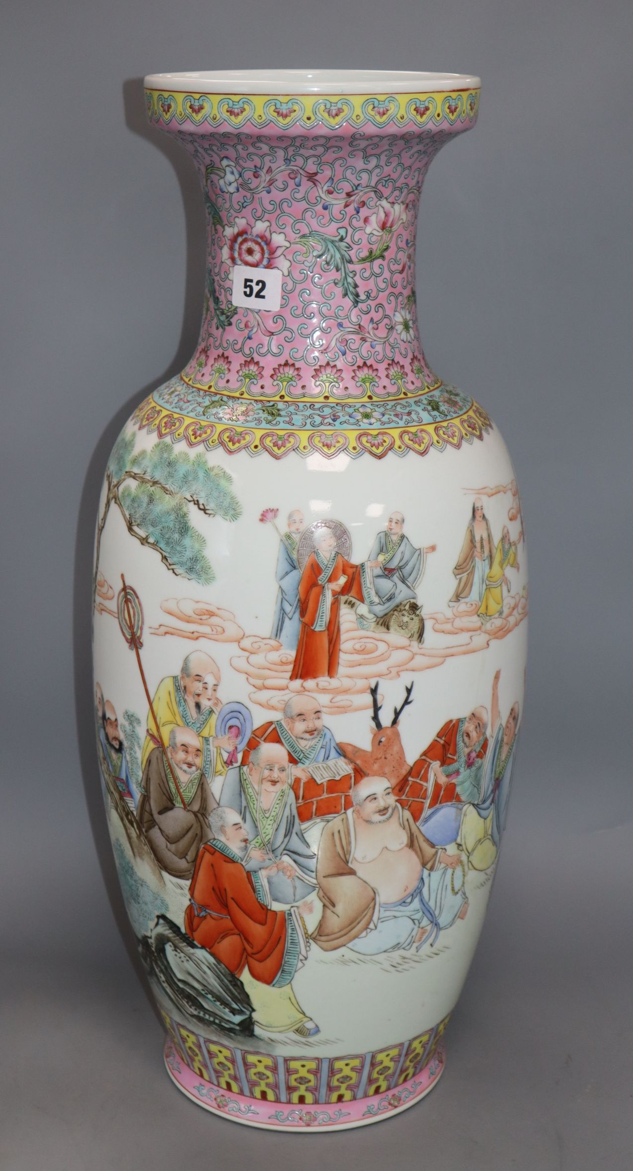 Lot 52 - A Chinese famille rose vase, 20th century height 62cm (a.f.)