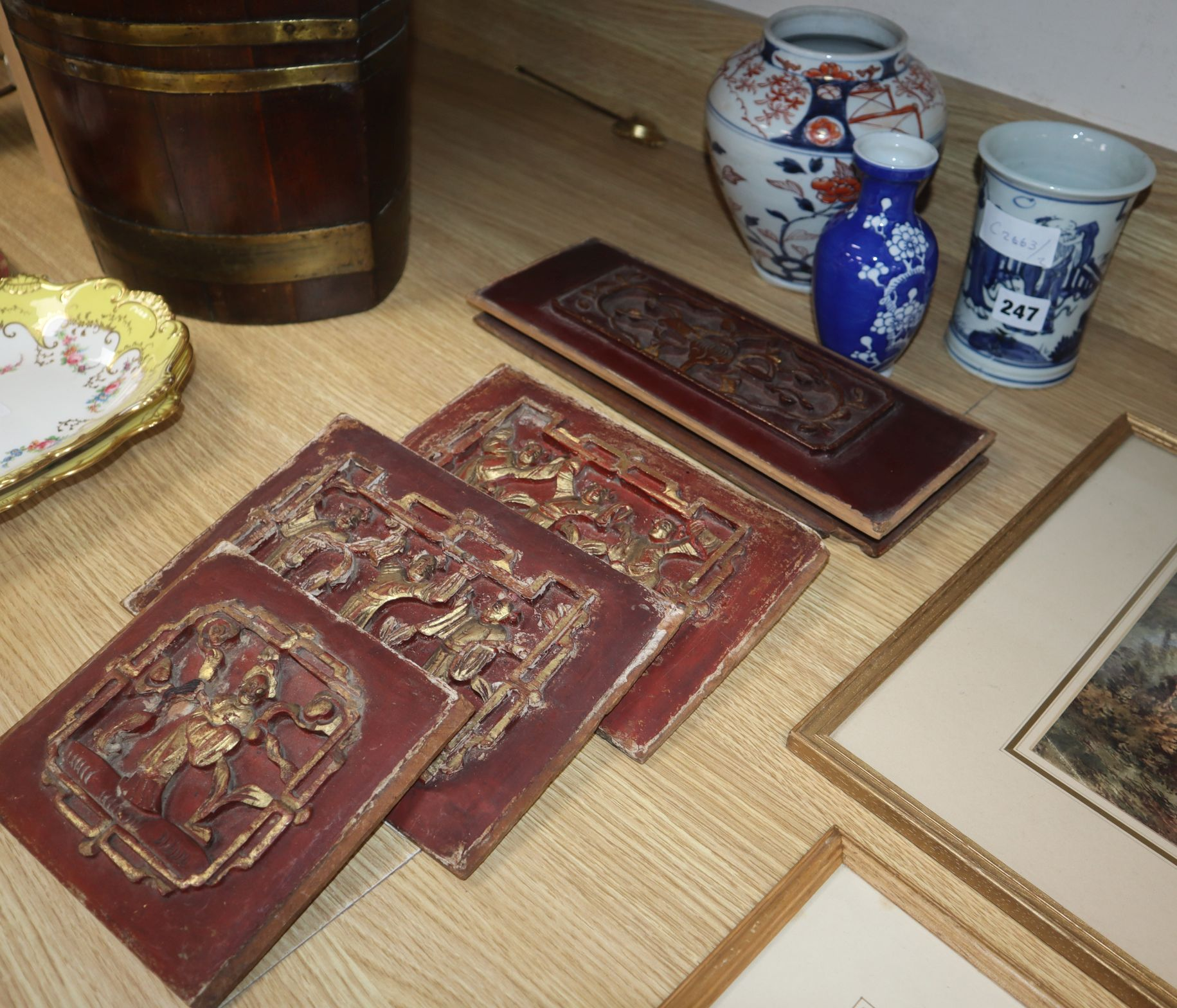 Lot 247 - Three Oriental vases and five Chinese carved wood panels
