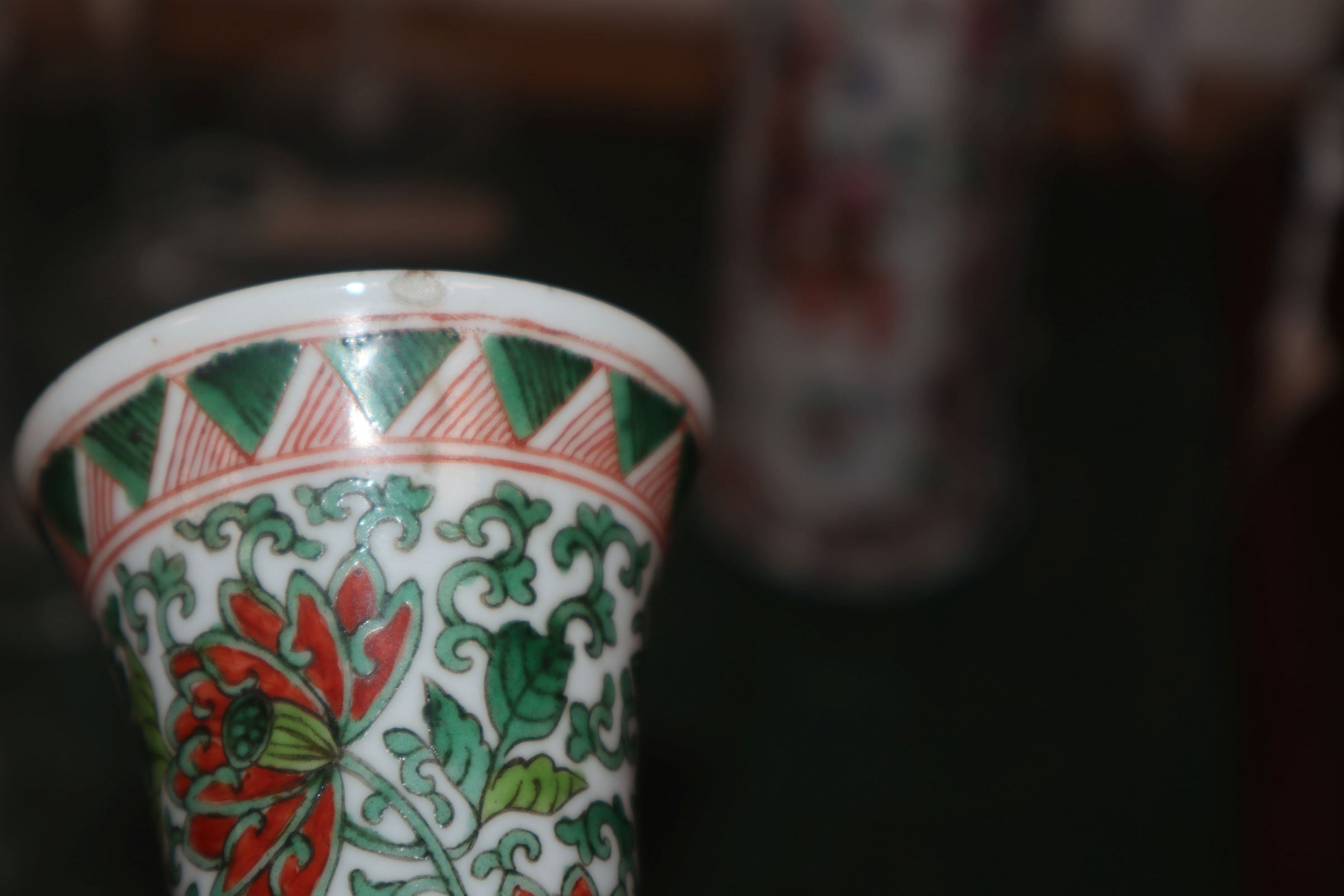 Lot 259 - A Chinese famille verte vase and famille rose vase, 18th/19th century