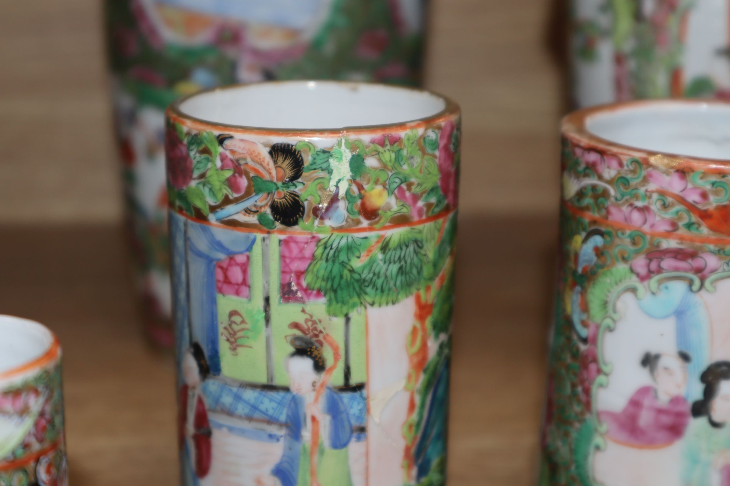 Lot 105 - A group of Chinese famille rose vases etc tallest 31cm