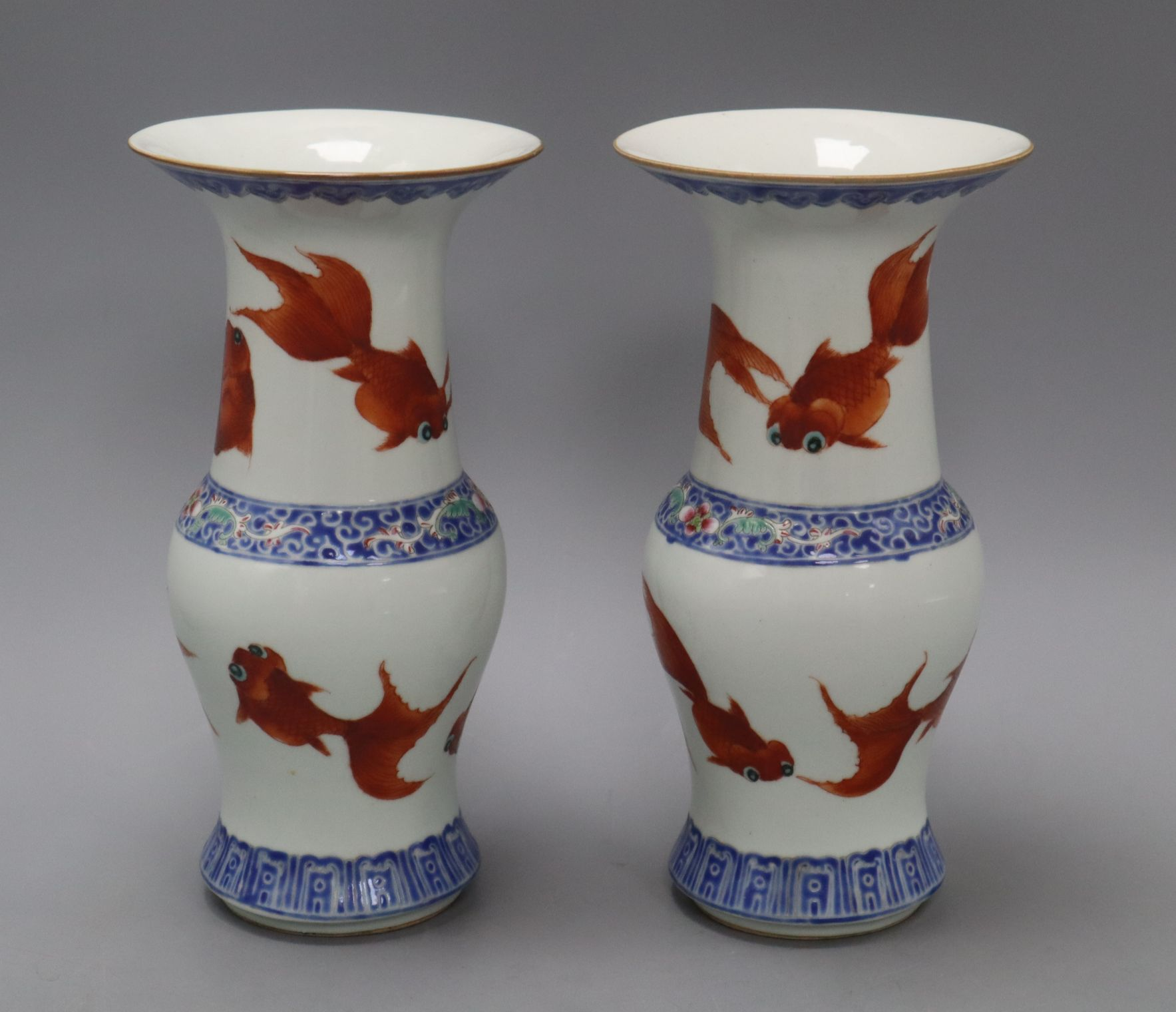 Lot 2 - A pair of Chinese porcelain 'goldfish' vases, Republic period height 24cm
