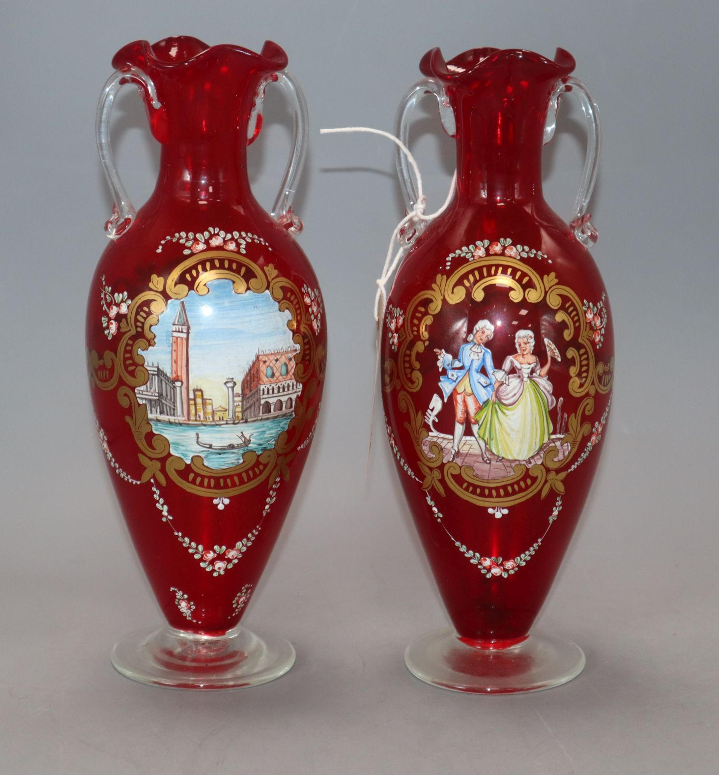 Lot 16 - A pair of hand painted Venetian glass vases height 24.5cm