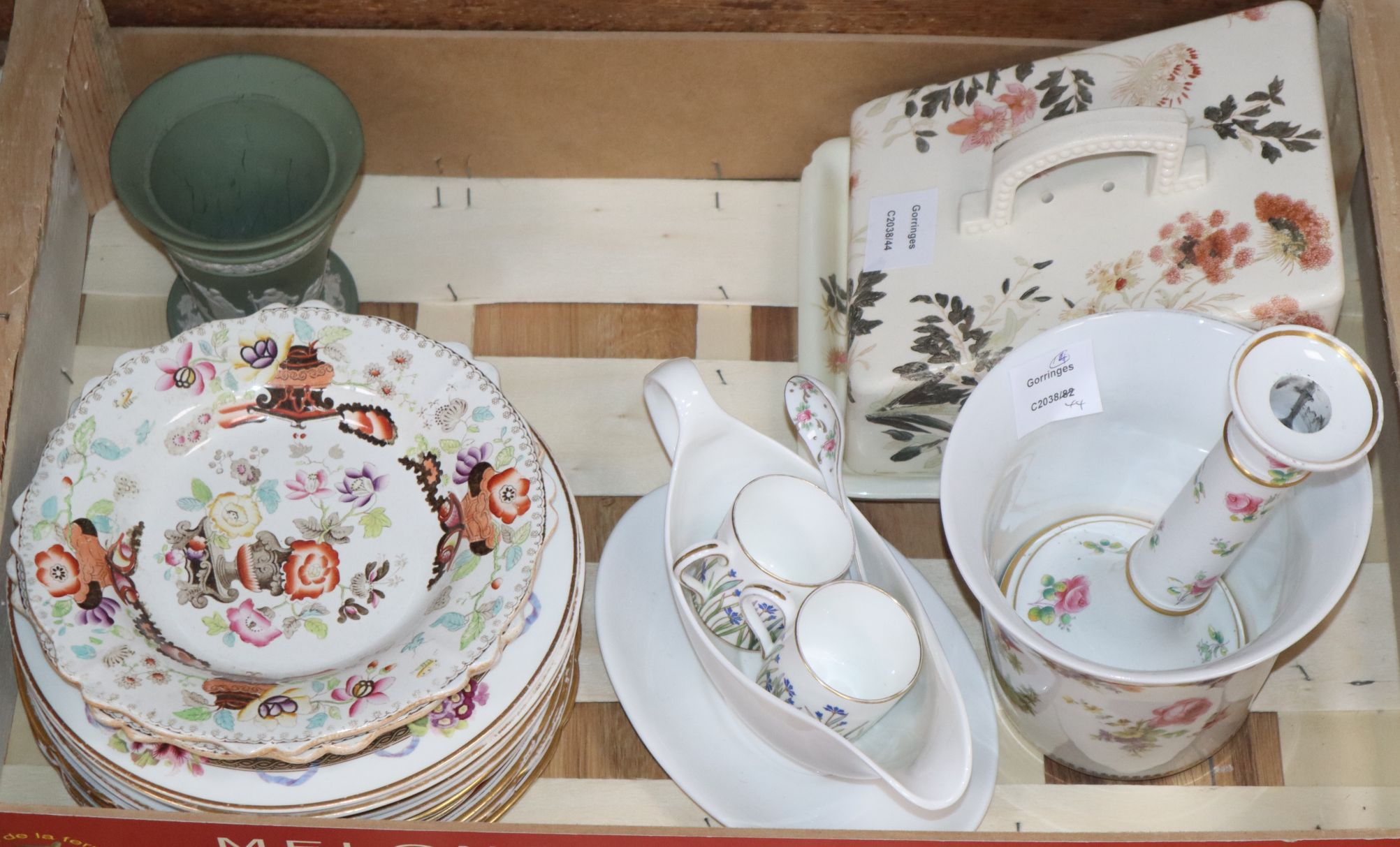 Lot 258 - A Staffordshire cheese dish and cover and ten Victorian dessert dishes and a vase etc