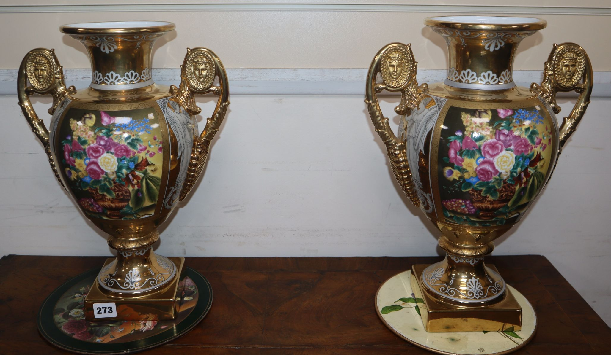 Lot 273 - A pair of Sevres-style porcelain vases
