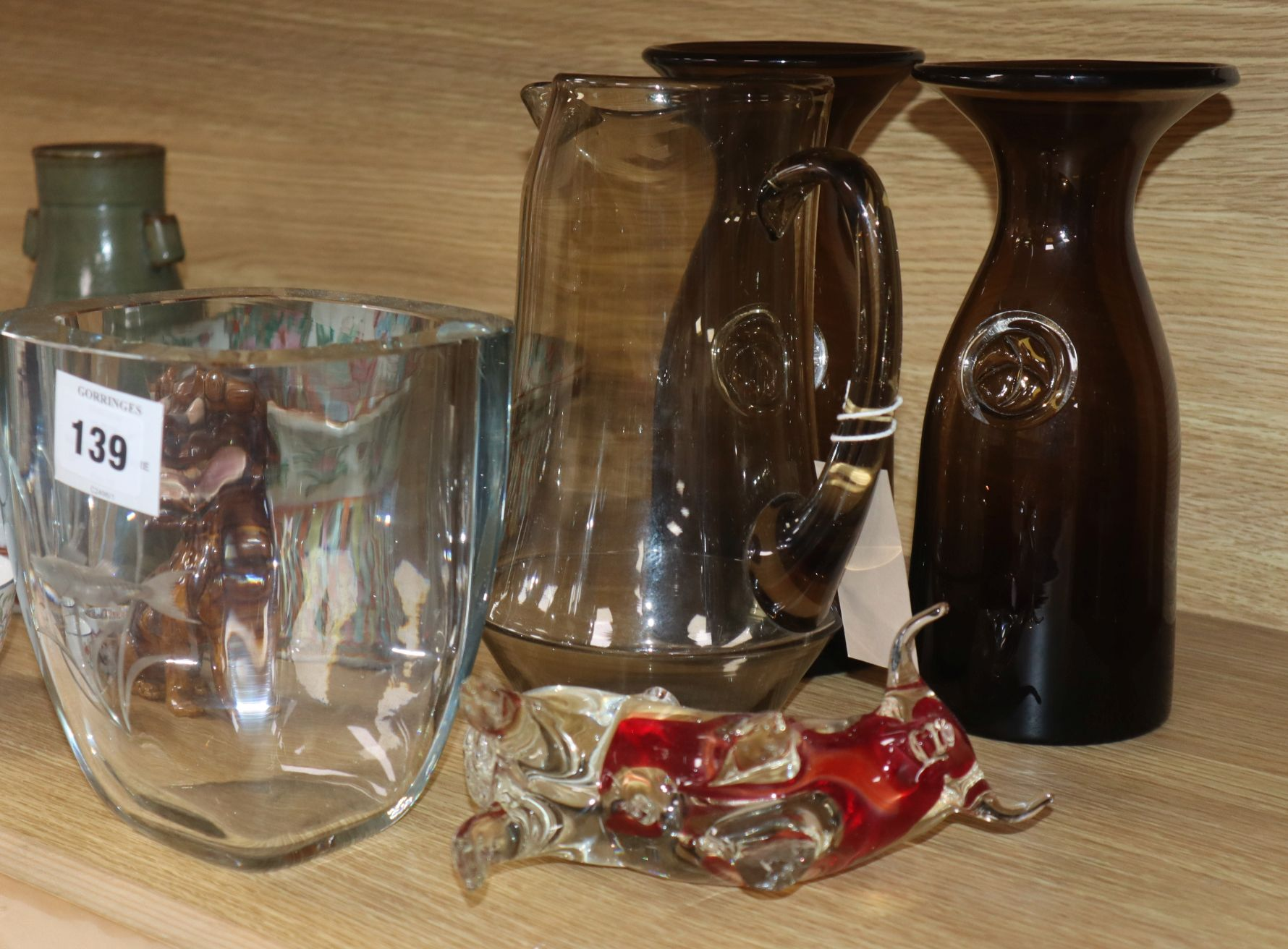 Lot 139 - A Kosta Boda etched glass vase, a Scandinavian glass jug and a pair of vases