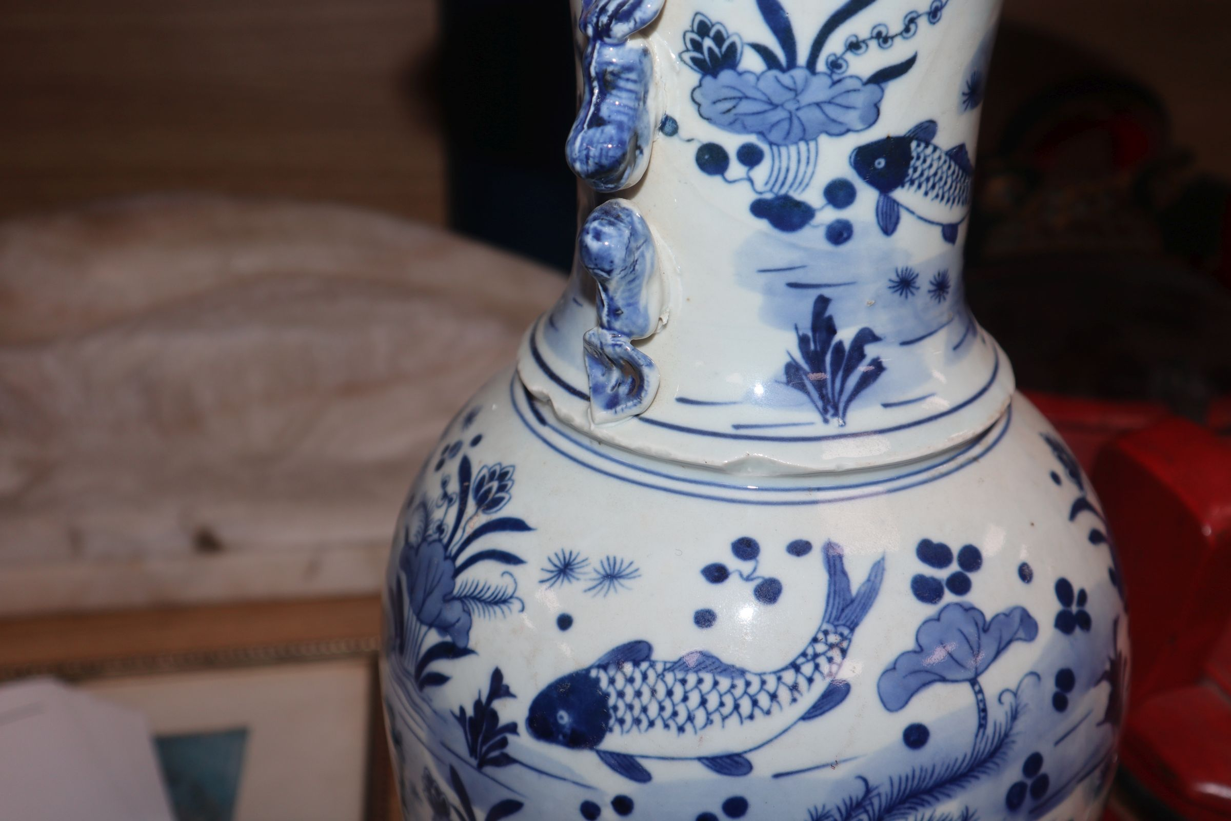 Lot 128 - A Chinese blue and white fish vase height 43cm
