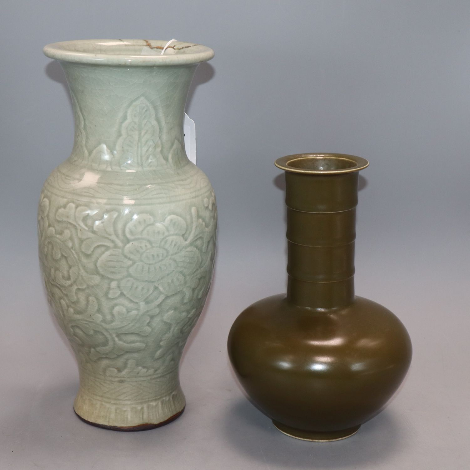 Lot 148 - A Chinese celadon ground vase and a tea dust glazed bottle vase height 30cm (a.f)