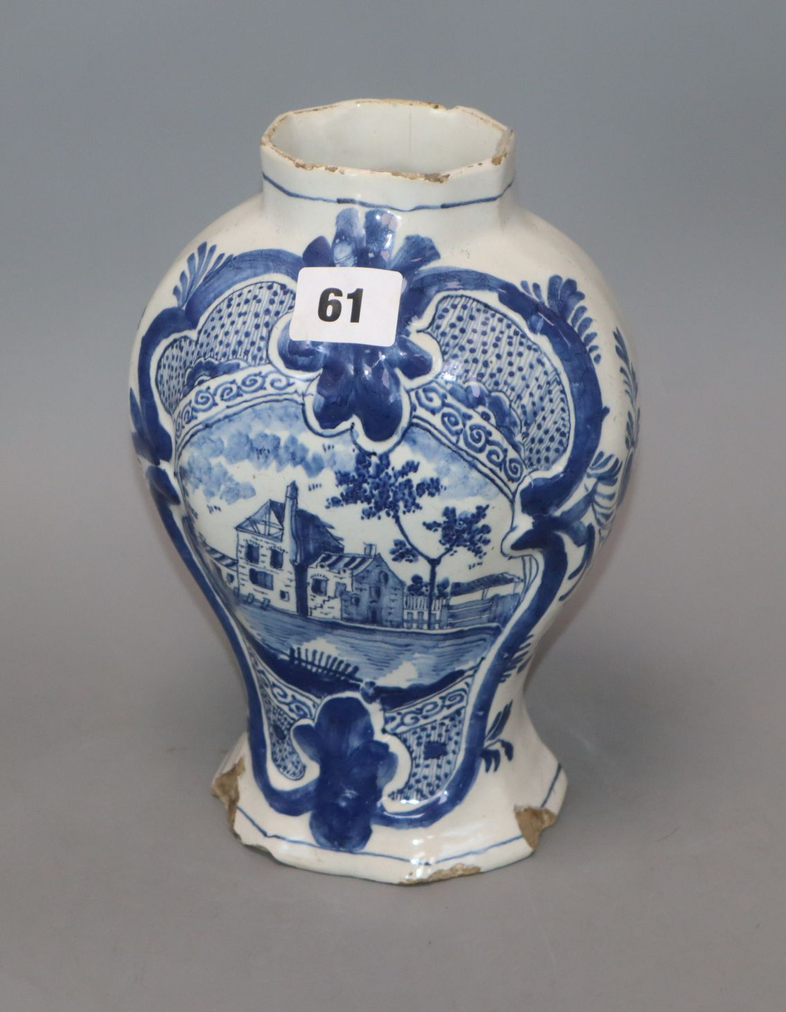 Lot 61 - An 18th/19th century Delft blue and white vase height 22cm
