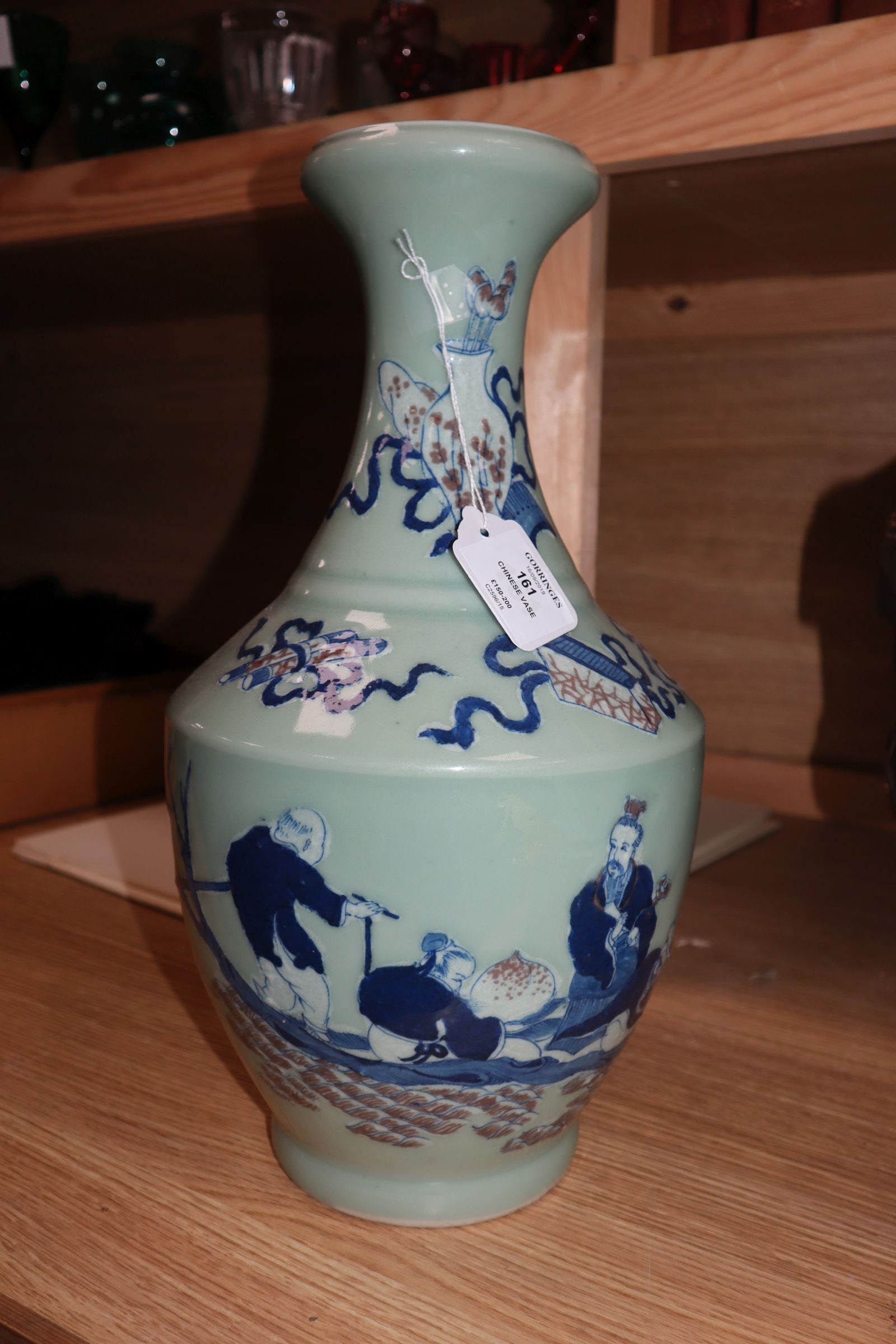 Lot 161 - A Chinese underglaze blue and copper red celadon vase height 40cm