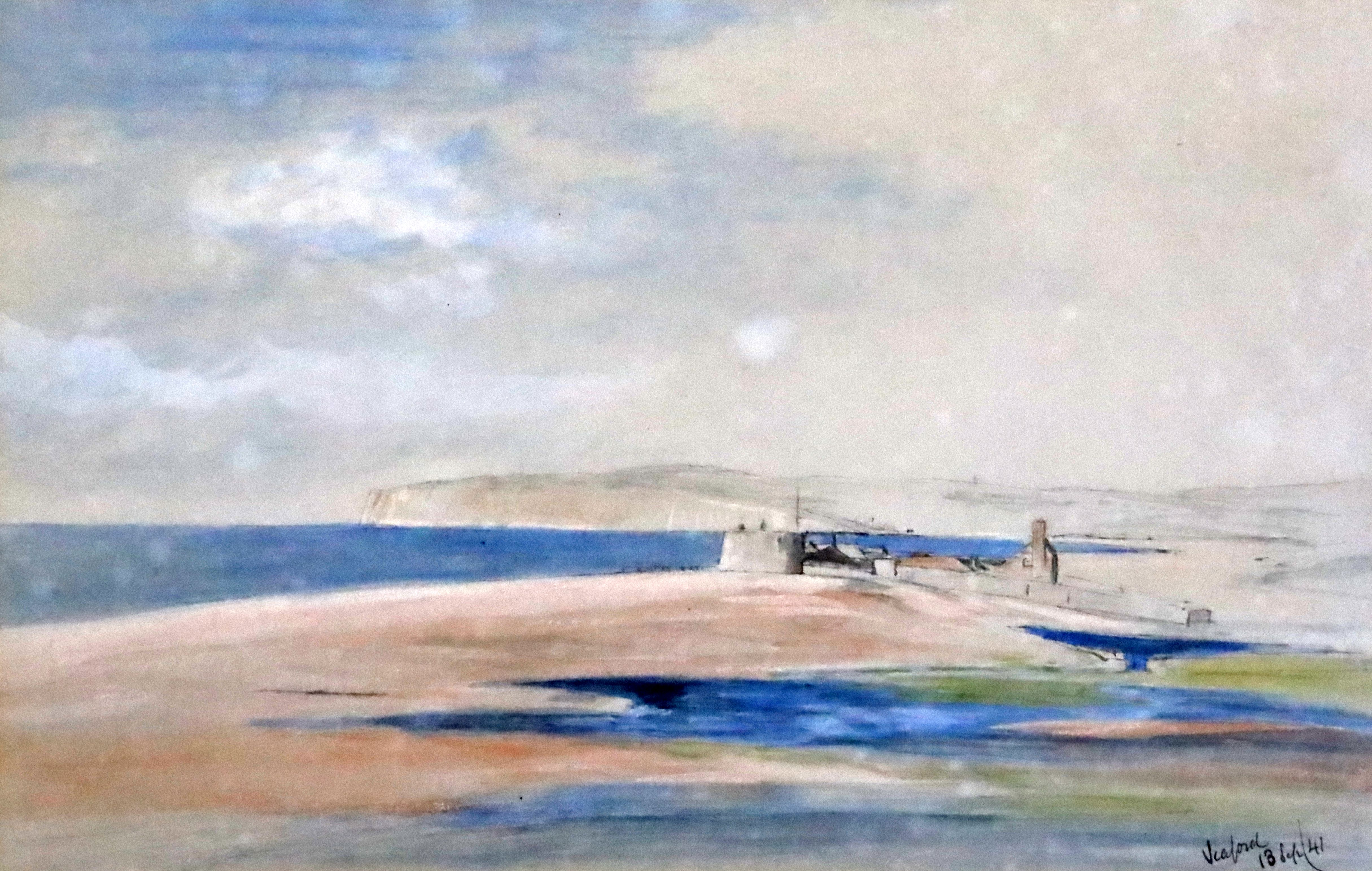 Lot 594 - Edward Lear (1812-1888)pencil, ink and watercolour Seaford, looking towards Newhaven