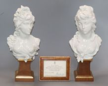 A pair of Royal Worcester busts of Night and Day, by Arnold Machin