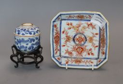 A Chinese Imari canted square dish and a small U-shaped jar, cover and stand, Kangxi period