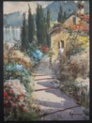 Gianni, watercolour, Italian garden, signed, 25 x 18cm, unframed