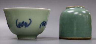 A Chinese blue and white tea bowl and a Chinese green glazed ink pot tallest 6cm