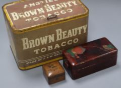An Anstie's Ltd Brown Beauty tobacco tin and two other boxes