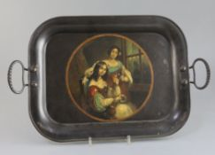 A Regency toleware tray, with iron loop handles and decorated with a portrait of two young ladies