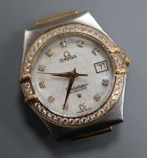 A lady's steel and gold Omega Constellation automatic wrist watch with diamond set bezel and