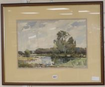 Edward Wesson (1910-1983), watercolour, ' The River Wey', signed, 33 x 48cm