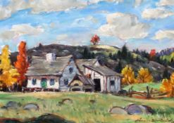 Thomas Hilton Garside (Canadian 1906-1980)oil on canvasLandscape with old cottagessigned,