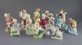 A set of twelve Royal Worcester figures of the Months, modelled by F.G. Doughty, black printed