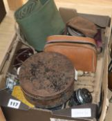 A box of vintage fishing tackle