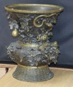 A large Japanese bronze vase, early 20th century, decorated with toads and snails height 44cm