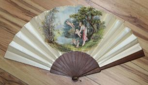 A late 19th/early 20th century fan, the silk leaf painted with a classical scene of a maiden and