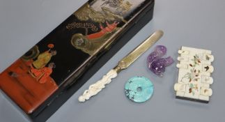 An ivory-handled paperknife and Shibayama-style bezique mark etc in a Japanese lacquer box