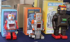 Three vintage Japanese tinplate /plastic robots, comprising a Horikawa battery-operated Mr Zerox (