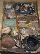 A quantity of Victorian pennies and collectables including knives, buttons etc.