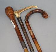 A horse measuring walking stick, stickware walking stick and a silver mounted riding crop