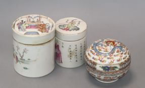 Two Chinese famille rose lidded pots and a circular pot